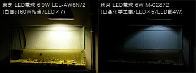 東芝と秋月のLED電球明るさ比較