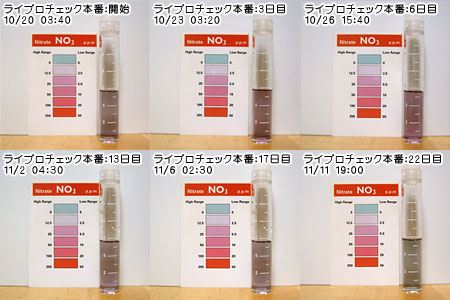 2009/10/20本番開始から3週間の硝酸塩の変移