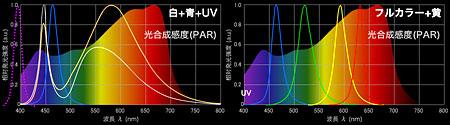 白LEDとフルカラーのスペクトル比較