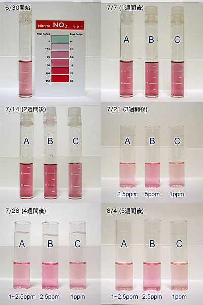 バイオペレット実験3の6週間目までの硝酸塩の推移