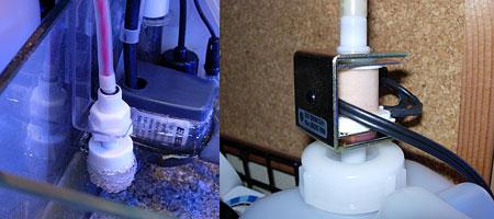 設置したフロートスイッチと電磁ポンプ