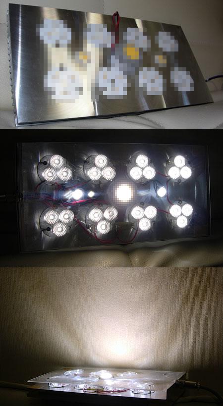 太陽光LEDシステム照明のLED素子仮組みテスト