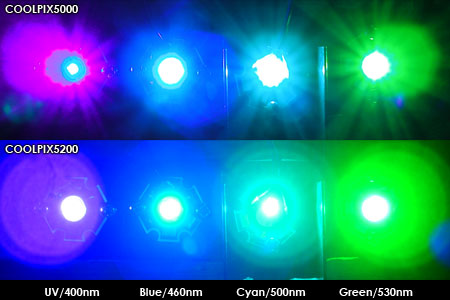 蛍光実験に用いた各LED
