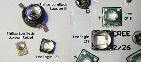 LedEngin UV LEDのサイズ比較