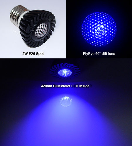 UV 420nm BlueViolet 3W Spot