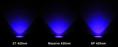 420nm LED対決 リフレクター装着