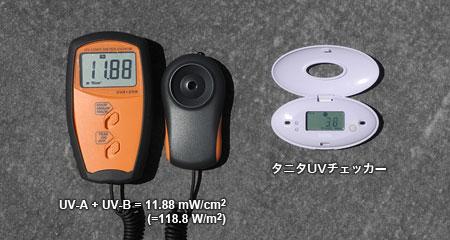 手持ちのUVメータとタニタUVチェッカーを比較
