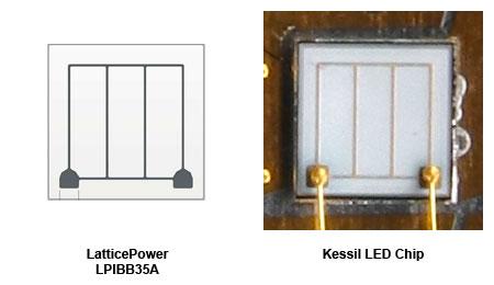 LatticePower社 LPIBB35Aチップと、Kessil採用のLEDチップ