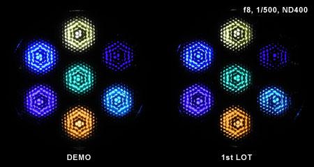 LeDio RS073 ReefUV 発光色(光量)比較