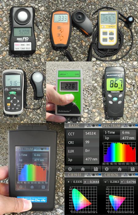 太陽光を各種測定