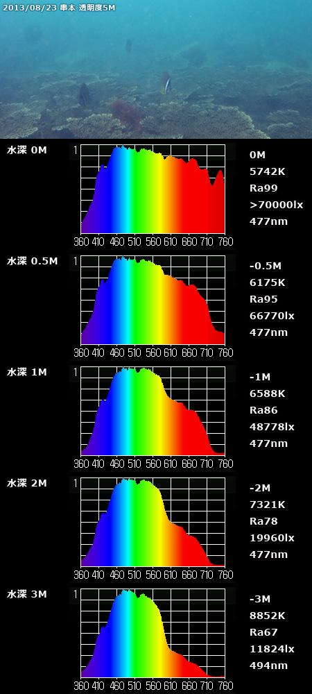 海中スペクトル 8/23 串本 正午 透明度5M