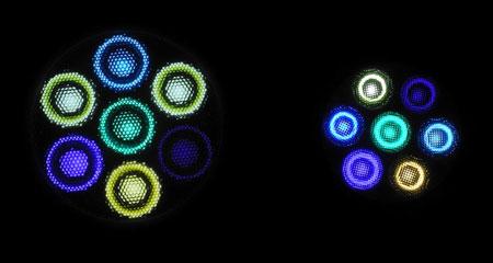 VitalWaveII Sun vs LeDio XS071 ReefUV:発光色比較