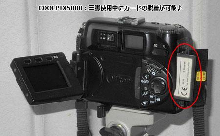 COOLPIX 5000は三脚のままカードの出し入れが可能♪