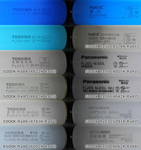 蛍光灯バルブ品番と光色