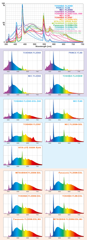 フラットスペクトルT8蛍光灯の実測スペクトル