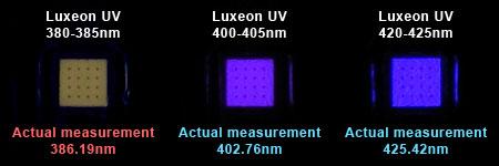 Philips Lumileds Luxeon UVの発光時のチップ色