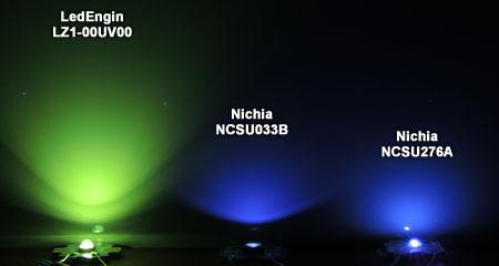 日亜UV 365nm LED ビーム比較