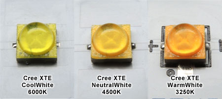 白色LEDと温白色LEDと電球色LED