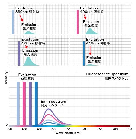 蛍光タンパクの励起波長毎の発光量