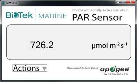 Biotek Marine BTM3000 USB PARセンサー:ソフトウェア画面