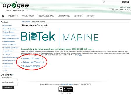 Biotek Marine BTM3000 USB PARセンサー:ソフトウェアダウンロードページ