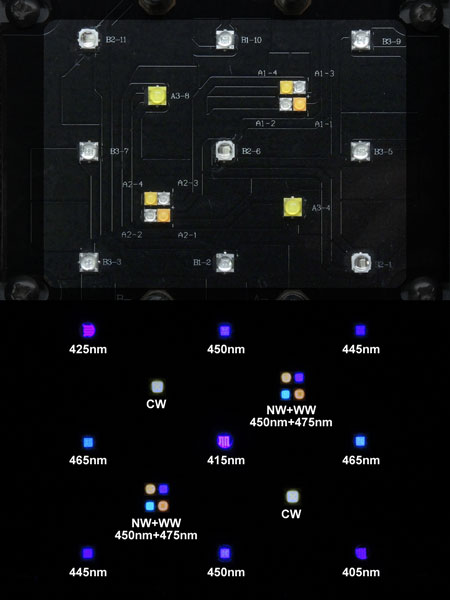 Maxspect Razor 15000K 180W:LED素子構成と発光色