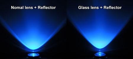 ビーム比較:純正レンズ vs ガラスレンズ