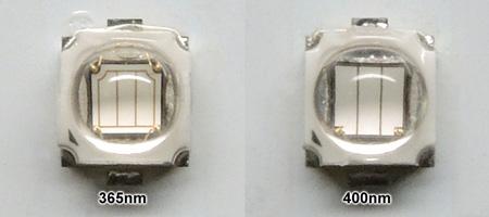 ガラスレンズ仕様UV系LED素子のチップ