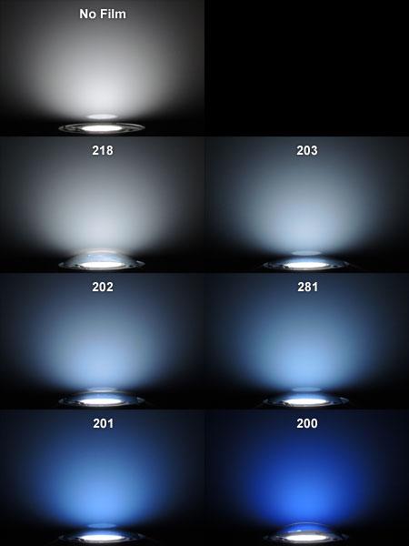 白色LED+ブルーフィルムによる発色の違い